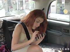 Blackmailed diminutive redhead bangs in fake cab