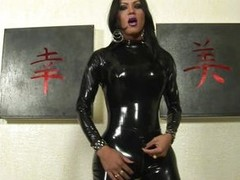 Luciana is a hot wicked shemale with lengthy dark hair and spacious round boobs, this babe wears a latex black costume and this babe takes out her spacious everlasting dick, rubbing it in front of us. She masturbate in different positions, showing her spa