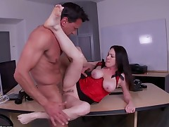 Mature Rayveness with huge tits can not resist mans sturdy meat stick