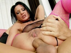 Tenebrous whore Destiny nearly pink fishnet stockings replaces in flames dildo in the matter of real cock. This babe gets screwed coarse by fellow in the matter of thick dick. That guy shows no mercy drilling her cornhole.