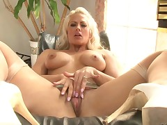 Busty blonde Holly Heart in white lingerie has sex with three horny as hell black guys. They fuck her mouth with their big poles and then take care of her tight pink pussy