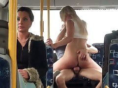 Blonde is on a bus with a dude. She does not wait for them to need to the apartment. She instead tears off her clothes and has sex in front of people. Huge tits.
