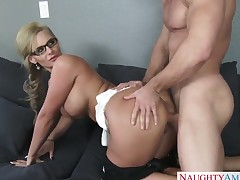 Phoenix Marie is a chick with a shaved pussy, firm large breasts and a huge ass. She is giving it all to the handyman as he is taking care of some things around the house.