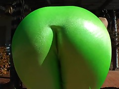 Blonde is wearing some tight clothes so her huge ass is getting a wedgie. A camera is close to picture it and a guy is there to grope that worthy round ass.
