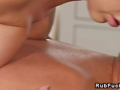 Dude getting massage with huge boobs then fuck