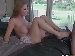Milf hottie Sunny Nash with massive knockers bonks a lot previous to horny man bust a nut in interracial porn action