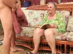 Nasty granny Margots hairy pussy be required of young cock