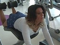Those older column love to realize sweaty in the gym