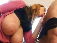 Terry Nova sucking blarney with her huge tits broadly