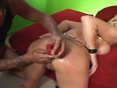 Extreme anal submission with tied breasty blonde cum eating slut