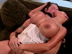 Look at this crazy brunette slut with such beefy melons as she takes...