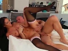 Wonderful pitch-dark Jennifer Dark is lying take hot stockings plus being licked by Johnny Sins plus fucks with him