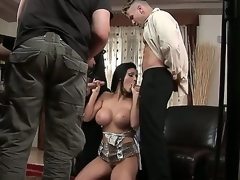 Crestfallen siren Aletta Gobs is sharing her juicy pussy and tight bunghole with two very hungry fellows