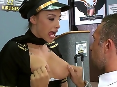 Chanel Preston works as a flight attendant and this babe loves to make blowjobs. Keiran Lee has a large yummy tool in his pants, so this babe wants to try it out immediately. Watch and have fun