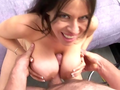 Dark haired Daphne Rosen with gigantic mind blowing gazognas and great oral skills gives memorable titjob to her paramour in pov and gets licked to orgasm in lusty sixty nine