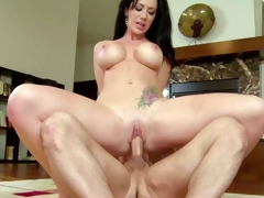 Jayden Jaymes is a marvelous dark haired pornstar with huge tits. That babe gives blow job and breast job before man sticks his rock solid cock in her nice hairless pussy. Watch busty Jayden Jaymes enjoy sex!