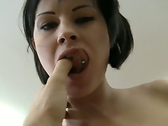 Young dark brown horny chick Abbie Cat got her toes sucked off by Rocco Siffredi and now getting cruelly fucked in her tight pussy.