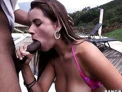 Latin Sofia gets her pretty face painted with love juice after sex with hot stud