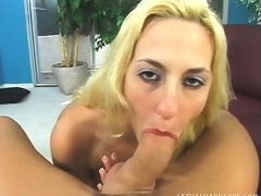 Pretty blonde with big hooters sucks and fucks a lengthy prick POV style