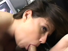 Big breasted milf worships a long rod and swallows its juices in POV