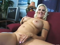 Big breasted blonde mama Veronica Vaughn is in need of a stiff cock deep in her cunt