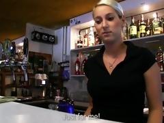 Barmaid Lenka bumped so big for money