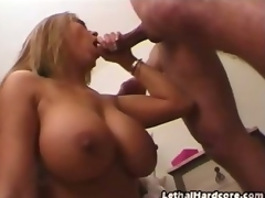 She may be of Asian extraction, but voluptuous Asian superstar Kianna Dior has got fucking enormous titties!  This scene is str8 into the action with no striptease, but its all for the better as you see this babe topless and sucking prick.  Her enormous boobies form a superior backdrop as she slobbers all over the dick, getting it really slippery with her saliva and jerking it with..