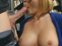 Blonde Pet with Glasses Doing a Stimulating Blowjob