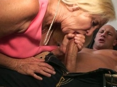 Hot granny gets a enduring cock in her moist mouth