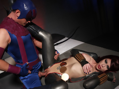 Two lesbo super heroines tease and fuck each other to intense climax