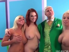 Three naked ladies with big breasts give a blowjob