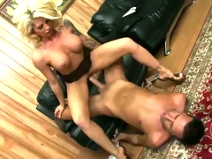 Fucking whore Brooke Haven sits her steamy snatch on a massive errect boner