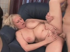 Plump granny with chubby confidential pleasuring younger man