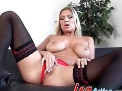 Devon Lee sensual tease in black stockings