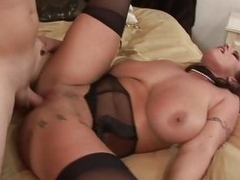 Big titted Eva Notty gets her pussy blocked up with cock