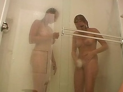 Two hot chicks apropos a shower together with get misspend