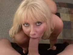Of age tow-headed with massive jugs gives sensual blowjob