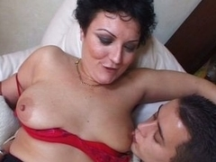 Horny obese tits granny enjoying young white coupled with dark boners