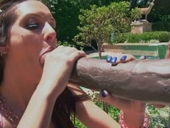 Cock whore Stephanie Kane eats up a huge dose of hot man meat