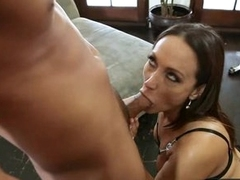 Hot momma Michelle Lay is sucking her lover's thick cock like a popsicle