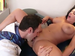 Busty brunette Bella Reese gives a sloppy and wet deepthroat bj before riding fat blarney and licking the cum