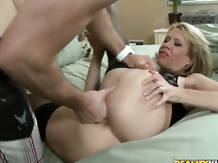 Blonde does lewd things and then gets her lovely face overspread in man cream