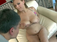 Large ass cheating milf Alexia Rae with dark heavy make up in colorful bra teases Michael Stefano with gigantic natural gazongas and has screaming orgasm while he bangs hard
