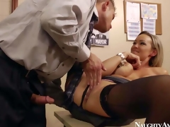 Gorgeous and lusty blonde secretary Abbey Brooks enjoy in getting her shaved bawdy cleft licked and rammed hard by her new client Bill Bailey in her office on the desk and enjoys