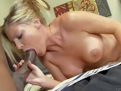Blonde Brianna Brooks with big tits and bald pussy has interracial sex with dark skinned man. He licks her pink sweet pussy before she takes his thick dick in her mouth. They have a nice time together