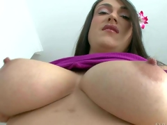 Victoria Love is a mouth-watering dark haired woman with big breasts. She gievs a close-up of her bald pussy and gets her big juggs rubbed before she gievs head from your point of view