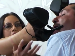 Dark-haired Emma Ass swallows a huge delicious wiener
