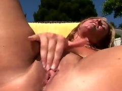 Perverted Blonde labia close by oustanding chest receives A phallus outside