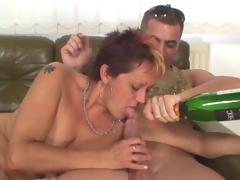 Granny banged by two young darksome and white studs