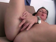 Sexy mommies strips and masturbates in solo